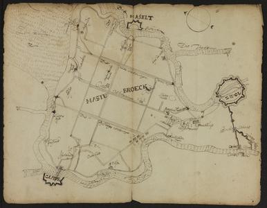 5803-KD000202 Caerte van mastebroeckSchetskaart van Mastenbroek. Waterlopen etc: Zuiderzee, Zeedijk, Lutterzijl, ...