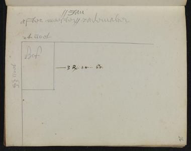 9110-KD000113 [Zonder titel]Plattegrond van het terrein achter meester Jan (Berends) Rademaker in de Walstraat aan de ...