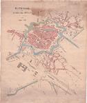 1267-KD001596 Platte gond van de gemeente Zwolle. Kaart van de binnenstad van Zwolle met de Kamperpoort, Dieze en ...