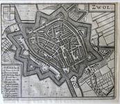 1453-KD001096 Zwol Gravure, plattegrond van de stad Zwolle, in vogelvlucht, met kerken, poorten, markten etc. Onderdeel ...