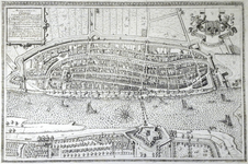 427-KD001379 Keiser Vrije Anzestadt Campen Stadsplattegrond van Kampen. Afdruk uit 1863 door Utenwaal van de originele ...