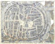 777-KD000314 Swol Kaart van Zwolse binnenstad. Vermeld worden: Diezerpoort, Sassenpoort, Kamperpoort, Rode Toren, ...