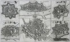 782-KD000319 Stedenkaartje Stadsplattegronden van de vestingsteden in Overijssel: Oldenzaal, Kampen, Steenwijk, ...