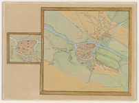 916-KD000346 Swoll Kopie van een gekopieerde kaart door Jacob van Deventer met stadsgracht en stadsmuur met poorten en ...