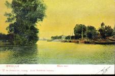 1528 PBKR4382 Zwartewater, Zwolle, 1902. Gezicht vanaf het Rodetorenplein op het Zwartewater. Tussen de linker- en ...