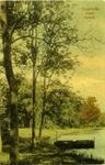 2073 PBKR6203 Ingekleurde prentbriefkaart van vijver in Park het Engelse Werk, met een bootje. De kaart is in 1916 ...