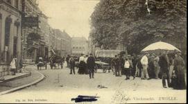 4800 PBKR2629 Gezicht op de Oude Vismarkt vanuit het oosten in de richting van de Grote Markt, ca. 1900. Het is ...
