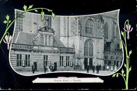 5075 PBKR1534 Grote Markt 18 en 20, Grote Kerk met Hoofdwacht en portaal, ca. 1908, in Jugendstil omlijsting met ...