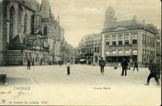 5455 PBKR1627 De Grote Markt met rails van de paardentram. Links de Grote Kerk met noorderportaal en links daarvan de ...