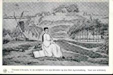 6315 PBKR0063 Thomas a Kempis (1380-1471) op de grond zittend, met boeken, links een molen, op de achtergrond profiel ...