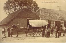 641 PBKR4224 Wipstrikkerallee, Herberg de Hanekamp ca. 1905 waarvoor een ingespannen boerenhuifkar staat, twee mannen ...