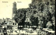 6618 PBKR1258 Grote Kerkplein met markt, op de achtergrond cafe billiard hotel de Beurs, ca. 1910-1915, 1910-00-00