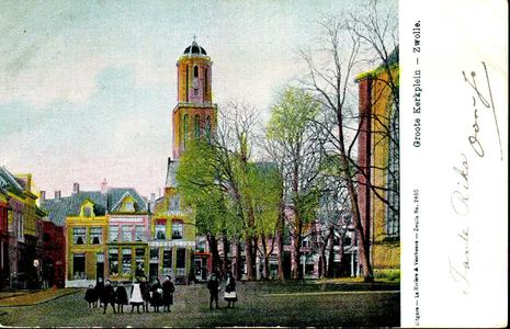 6622 PBKR1262 Grote Kerkplein met zicht op de Peperbus en mensen op de voorgrond, ca. 1906., 1900-00-00