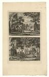 122 -TP001041 Twee afbeeldingen van het dorp en van het landhuis Vuurst (Lage Vuursche bij Utrecht).