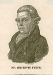 585 -TP000163 Portret van dichter Rhijnvis Feith (1753-1824), borstbeeld naar links gericht. Aangevuld met tekst op de ...