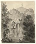 61 -TP001016 Afbeelding van een standbeeld van een vrouw in een jurk. Ze houdt een kruik vast. Op de achtergrond staat ...