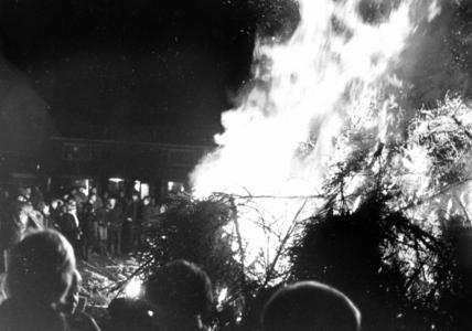 90609 Afbeelding van de jaarlijkse verbranding van door schoolkinderen opgehaalde oude kerstbomen op het terrein aan de ...