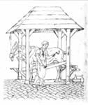 31477 Afbeelding van de hoefstal in de Biltstraat te Utrecht met een paard en een hoefsmid.