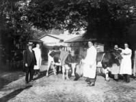 41461 Afbeelding van het keuren van het aangevoerde vee op de veemarkt op het Vredenburg te Utrecht.