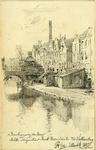39399 Gezicht op de Oudegracht met de Vollersbrug te Utrecht, met rechts de gebouwen van de bierbrouwerij De Boog ...