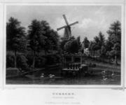 36867 Gezicht over de stadsbuitengracht op de Tolsteegbrug te Utrecht uit het oosten, met op de achtergrond de molen op ...