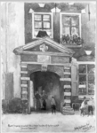 31714 Gezicht op de gevel met de toegangspoort tot de kazerne aan de Nicolaasdwarsstraat te Utrecht in het voormalige ...