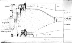 36519 Situatietekening van de wateren aan de zuidzijde van de stad Utrecht met weergave van de beide Tolsteegpoorten in ...