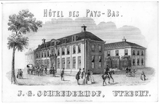 35418 Gezicht op de twee vleugels van Hotel-restaurant les Pays Bas (Wijk G, nr. 242) te Utrecht met de tussengelegen ...