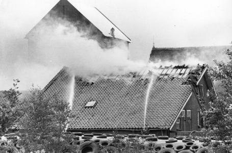 90758 Afbeelding van het blussen van een brand in een veeschuur bij de boerderij Thematerweg 24 te Vleuten (gemeente ...