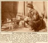 76731 Afbeelding van een verzorger bij een hondenkennel in het Stichts Asyl voor Dieren (Markstraat 1) te Utrecht.