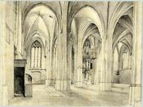 6305 Interieur van de Cunerakerk te Rhenen: het zuidwestelijke gedeelte van het schip met rechts achterin het gotische orgel.