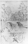35914 Gezicht over de Oudegracht te Utrecht vanaf de werf aan de westzijde van de gracht op de Vollersbrug en ...