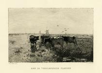 200880 Gezicht op een landschap met koeien aan het water in de omgeving van Vreeland.