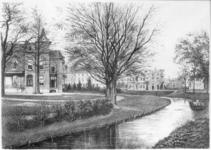 31363 Gezicht vanuit het zuiden op de tuin en het huis De Oorsprong te Utrecht met op de achtergrond de huizen aan de ...