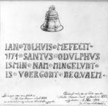 30873 Afbeelding van de klok van de Wittevrouwenpoort te Utrecht met het randschrift uitvergroot.