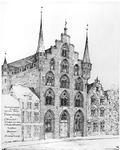 30392 Afbeelding van de voorgevel van het huis Fresenburg en enkele belendende huizen aan de Oudegracht te Utrecht.N.B. ...