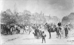 36083 Gezicht op de zuidoostzijde van het Vredenburg te Utrecht tijdens een paardenmarkt.