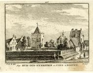 201854 Gezicht op het terrein van het kasteel Rhijnestein te Cothen met de woontoren en het poortgebouw als ...