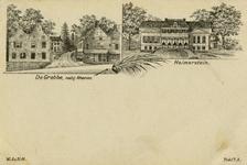 13293 Collage van 2 gezichten te Grebbe (gemeente Rhenen):- Hotel De Grebbe met links de dépendance.- De voorgevel van ...