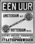 167080 Afbeelding van een affiche voor de sneldienst van treinen van de Staatsspoorwegen (S.S.) tussen Amsterdam ...