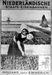 167083 Afbeelding van een affiche van de N.S. voor treinverbindingen vanuit Duitsland naar Nederland via Emmerich, met ...