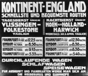 167085 Afbeelding van een (duitstalig) affiche van Kontinent-England voor treinen tussen Frankfurt en London v.v. (via ...