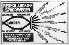167086 Afbeelding van een affiche voor treinen van London naar diverse Nederlandse bestemmingen via Harwich - Hoekvan ...