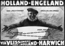 167089 Afbeelding van een affiche voor de bootverbindingen van de S.M.Z. (Stoomvaart-Maatschappij Zeeland) tussen Hoek ...