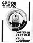 167092 Afbeelding van een affiche voor goederenvervoer per spoor met van Gend & Loos en A.T.O.