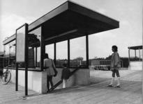 165542 Gezicht op de luifel boven de perrontunnel van het nieuwe N.S.-station Gorinchem te Gorinchem.