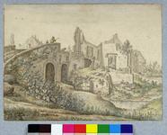 30817 Gezicht op de Gildbrug over de Biltsche Grift ten oosten van de stad Utrecht, met de ruïne van een huis naast de ...