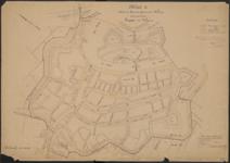 19; Kaart van de bebouwde kom (deel 1) der gemeente Weesp behorende bij de ligger der wegen