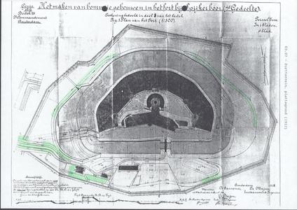 104 Fort Spijkerboor, situatie tekeningen van het bestek maken bomvrije gebouwen, op een is aangegeven de beplanting ...