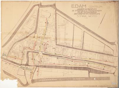 WAT001020017 Thematische plattegrond van Edam met aanduiding van de ouderdom van de gevels in de binnenstad.